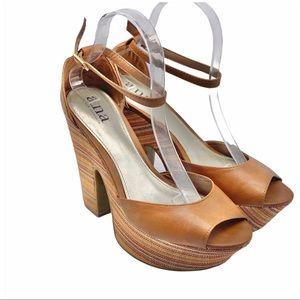 A.N.A EUC Multicolor Groovy Chunky Platform Heels